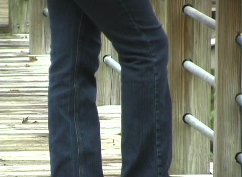 Beautiful Pregnant Woman on a Boardwalk (2) Stock Video Footage