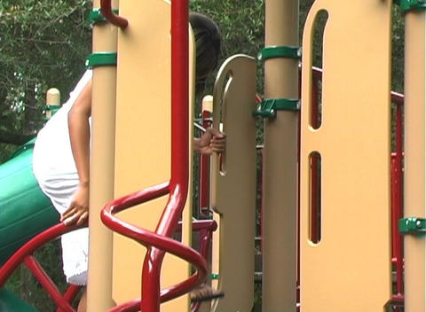 Beautiful Pregnant Woman on a Playground (3) Stock Video Footage