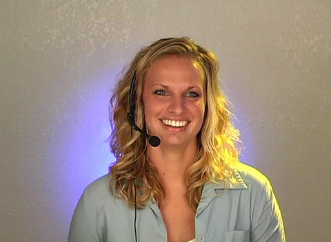 Beautiful Young Blonde Customer Service Operator Stock Video Footage