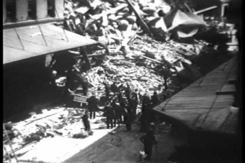 A building collapses in new York City in 1930 Footage