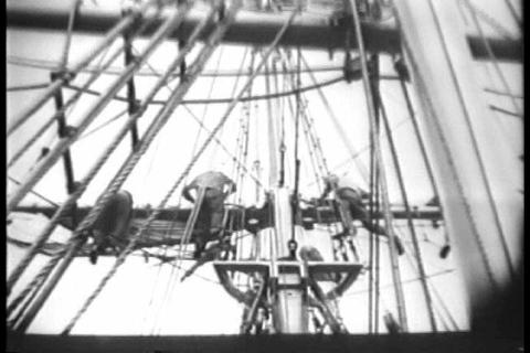 Navy cadets practice seamanship on a fake wooden v Footage
