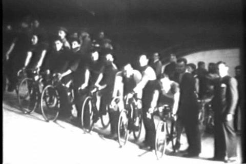 An indoor bicycle race in 1929 Stock Video Footage
