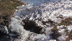 Mountain Stream With Melting Snow stock footage