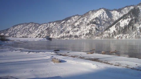 Winter Yenisei Divnogorsk 01 Footage