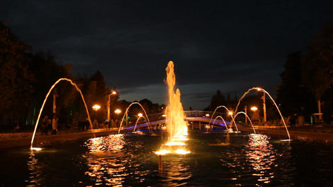Batumi Night Fountain stock footage