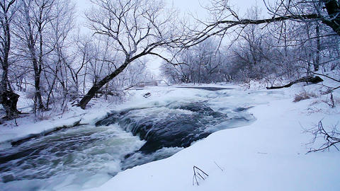 Winter scenic of the River Krynka, Donetsk region Footage