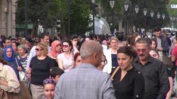 Busy shopping street in Baku Footage