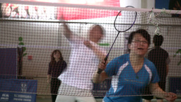 Badminton Game In China stock footage