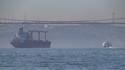 Cargo ship on Bosphorus in Turkey Footage