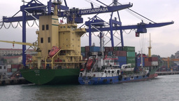 Sailing, Cranes, Industry, Cargo, Istanbul, Turkey Footage