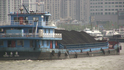 Cargo Ship With Coal In Shanghai stock footage