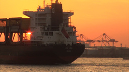 Cargo Ship, Cranes, Sunset, Oil Depots, Osaka, Jap Footage