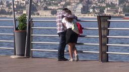 Young Couple In Love On Baku Promenade, Azerbaijan Footage