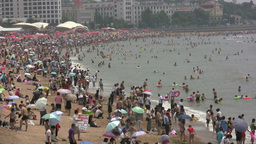 Crowded beach in China Footage