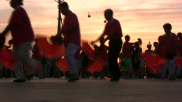 China, dancing in sunset Footage