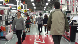 Walking through electronics store in Japan Footage