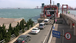 Boarding ferry in China Footage