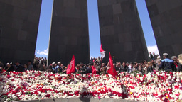 Genocide Memorial Service In Armenia stock footage