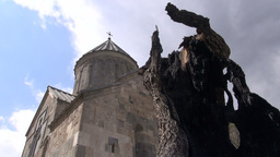 Armenian Monastery Church And Dead Tree, Timelapse stock footage