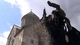 Armenian monastery church and dead tree, timelapse Footage