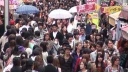 Busy shopping street in Tokyo Japan Footage