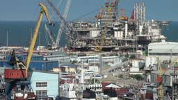 Harbor, oil platform, construction, industry, Baku Footage
