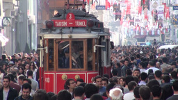 Istiklal Avenue in Istanbul, tram moves through cr Footage
