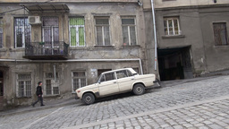 Lada On Steep Road In Tbilisi, Georgia, Former Sov stock footage