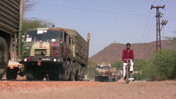 Military army trucks colonne in India Footage
