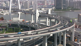 Nanpu bridge and traffic in Shanghai China Footage