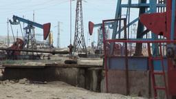 Oil field, pumpjacks, donkey, petroleum industry Footage