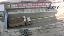 Overhead shot of construction truck in China Footage