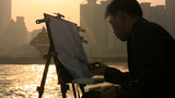 Painting skyline at sunset, China skyline Footage