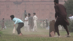 Playing cricket in front of Lahore fort in Pakista Footage