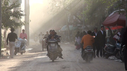 Rays of sunlight shine through Kashgar street Chin Footage
