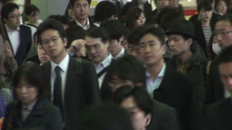 Rush hour in train station Tokyo Japan Footage