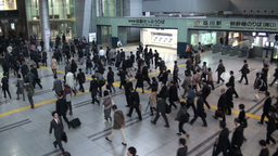 Rush hour in train station Tokyo Footage