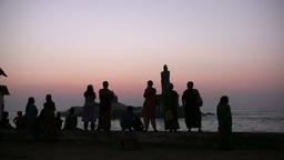 Sunrise in India, pilgrims watching Footage