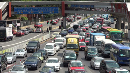 Traffic jam before toll ports in Hong Kong Footage