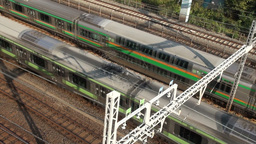 Train Tracks In Tokyo Japan stock footage
