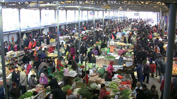 Vegetable market during Winter in China Footage