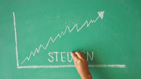 Taxes Chalk Diagram (In German) Footage