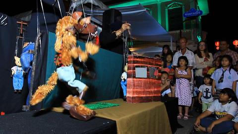 PHUKET THAILAND - FEBRUARY 7:String puppet show on Footage