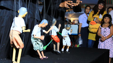 PHUKET THAILAND - FEBRUARY 7:String puppet show on Live Action