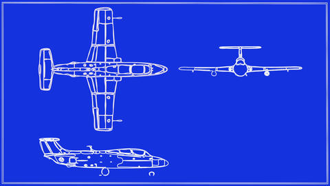 Jet aircraft drawing Animation