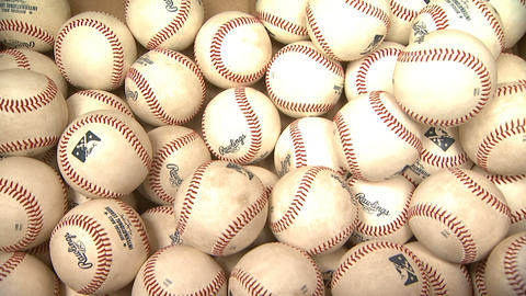 Baseballs Close Up Thrown In Box Footage