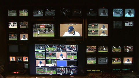 TV Monitors at Studio Baseball Game Footage