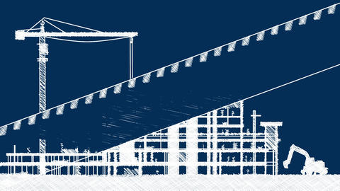 Construction Site Animation Stock Video Footage