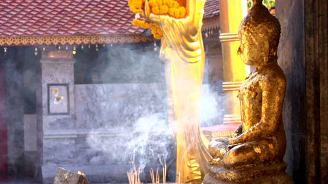 Incense Smoke And Buddha stock footage