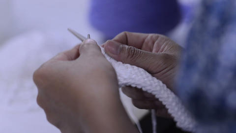 Knitting White stock footage